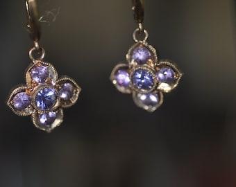14K Rose Gold Plated Sapphire Flower Earrings