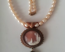 Vintage Genuine Cameo Beadwoven Necklace . Cameo Landscape. Pearl Necklace . Edwardian Victorian -Classic Romantic by enchantedbeads on Etsy