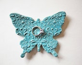 Ceramic Butterfly - Blue Butterfly - Sea Isle Turquoise Butterfly - Ring Dish or Spoon Rest