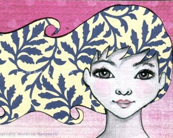 Heidi - Original ACEO illustration - Miniature art card - Mixed media original girl with blue eyes and blonde hair