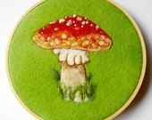 Toadstool Hoop Art: Felted Wool Woodland Mushroom (RED Fly Agaric) (All Natural Materials)