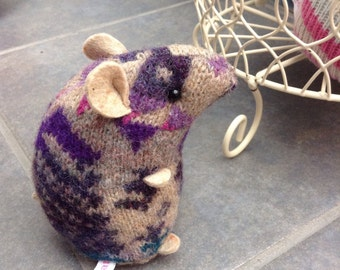 Lilac pattern plush hamster made from recycled jumper sweater