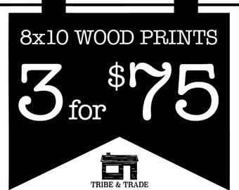 "Wood Wall Art Bundle : Pick Any 3 8x10"" Wood Prints -- Wall Art / Wood Artwork / Christmas Gifts / Typography / Wall Decor / Quote Prints"