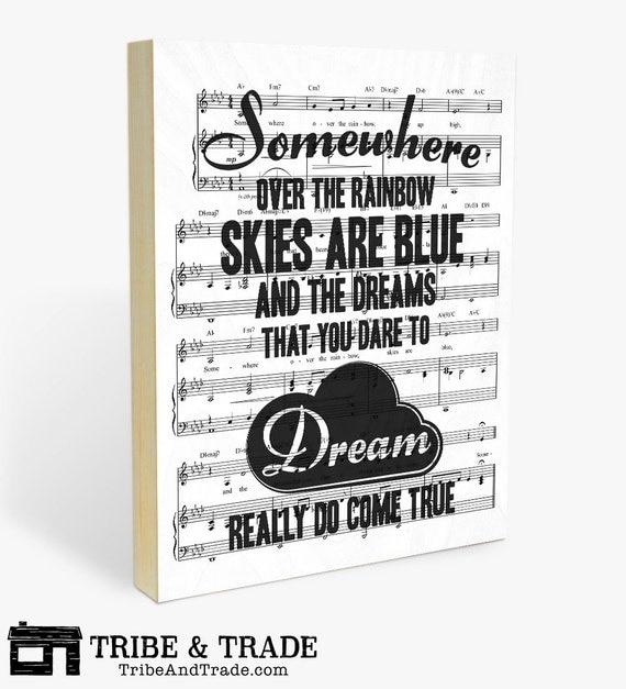 Over The Rainbow Lyrics Sheet Music: Wizard Of Oz Lyrics Art On Wood Wall Panel 'Somewhere Over