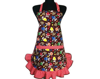M&M's Apron for women , Red Polka Dot Trim and Retro Style Ruffle , Candy Kitchen Decor