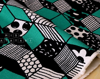 Japanese Fabric - Cubes canvas - green - 50cm