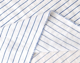 Japanese fabric striped linen - blue, ivory - 50cm