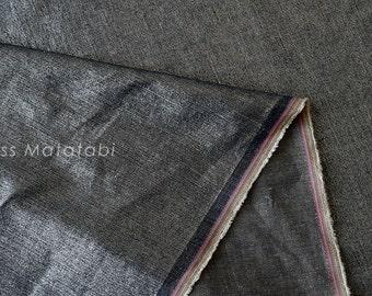 Japanese Fabric - Linen Shimmer - silver indigo blue - 50cm