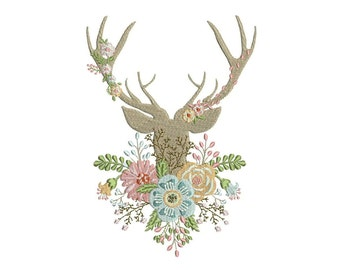 Boho Whimsical Deer Antlers With Flowers Bohemian Machine Embroidery File design 7x12inch hoop