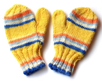Kids Mittens. 12 to 18 Months. Yellow and Blue Knit Winter Mittens With Thumbs. Unisex Wool Handwarmers. Childs Mittens. Striped Mittens