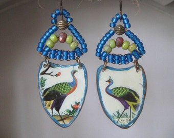 Tin Earrings. Bohemian Bliss Dangle Earrings. Vintage Repurposed Tin Earrings. Gypsy Dangle Earrings. Vintage TIn
