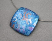 Statement blue pendant necklace Choker Abstract design botanical inspired jewelry Square pendant. Neck wire Metallic colors Polymer clay