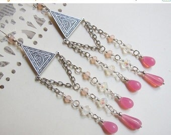 Sale - Aphrodite of the Roses - Antique silver, crystal, rosy glass chandelier earrings