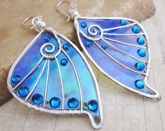 Sihaya Designs Faery Wing Earrings - The Sluagh - Iridescent Fairy Wing Jewelry