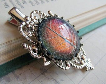 Autumnvale Twilight - Color-shifting Real Leaf Silver Filigree Hair Clip