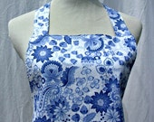 Ladies Pretty blue and White Apron With Flirty Ruffle Skirt