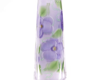 Unique Hand-Faceted Lavender Floral Glass Bead...Handmade By Highland Beads, faceted, lampwork, flowers, glass