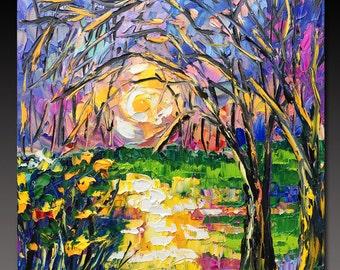 Oil Painting  Woods  Lake Sunset ART B. Sasik  Painting Original TREE Art
