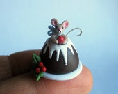 Miniature Handmade Christmas Plum Pudding Mouse by C. Rohal