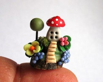 Miniature  Whimsical Wee Toadstool Fairy House with Tree OOAK by C. Rohal