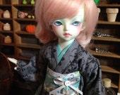 A Grey and Aqua Flowered Kimono and obi for 1/6th 26cm YOSD BJD