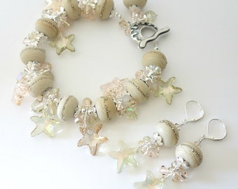 Lampwork Bracelet and Earrings, Two Piece Set, Silver Beach Jewelry, Crystal Starfish, Light Green, Peach, Ocean, Beaded Jewelry, OOAK