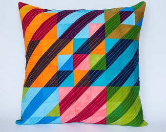 Through the Blinds Hand Dyed and Patterned Patchwork Pillow Cover