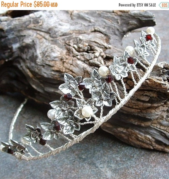 ON SALE Garnet and Silver or Gold Ivy Leaf Tiara with pearls
