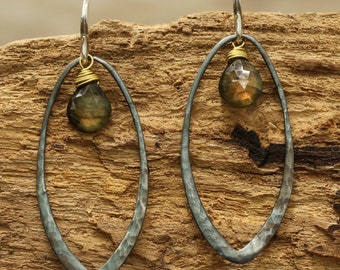 Silver teardrop hoop earrings with drop labradorite and sterling silver hooks