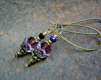Lovely Lavender Firefly Style Earrings, Shades of Purple, Lightweight Earrings, Gift Under 25, Colorful Boho Earrings, Elksong Jewelry