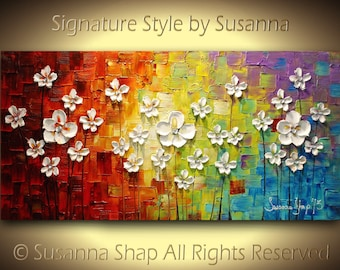 Abstract Painting ORIGINAL Acrylic Painting Texured Flowers Landscape Modern Art Palette Knife Multicolored Canvas Art-Susanna Made2Order