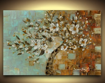 PRINT on Canvas Modern White cherry blossom tree Fine Art Giclee Abstract Landscape Tree Home Decor Large Wall Art Blue Brown Susanna