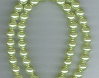 CLEARANCE 8mm Light Green Glass Pearl Round Beads