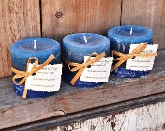 SALE - Trio of Yacht Salt Scented Small Cylinder Candles