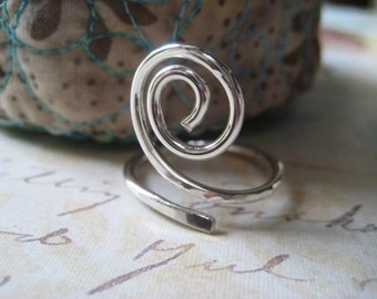 Sterling Swirl Ring, Hand Forged Ring, Sterling Silver, Hand Formed, Size 8 Ring, Adjustable Ring, Womens Jewelry, Stacking Ring, candies64
