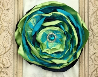 Handmade Layered Satin Flower Hair Clip, Burnt Edges, Turquoise, Lime Green, Navy, Rhinestone Center, Fashion Hair Accessories, Photo Prop