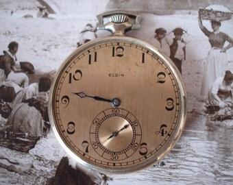 1925 Vintage Elgin Gold Metal Pocket Watch, Inscribed, Non Working