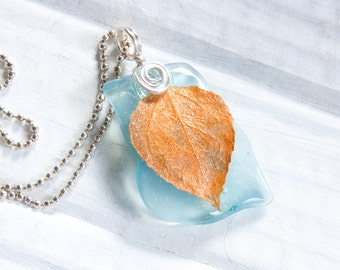 Blue and Orange Aspen Leaf Necklace,  Recycled Glass Pendant, Nature Jewelry