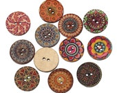 """Boho Wooden Buttons (B120) 20 Fancy Painted 3/4"""" Diameter Wood Buttons Assorted Styles and Colors Sewing Crafts Scrapbook Supplies"""