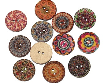 "Buttons (B120) 20 Fancy Painted 3/4"" Diameter Buttons Assorted Styles and Colors"