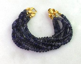 Six Strand Iolite, Vintage Clasp, Dramatic Focal Bracelet..