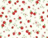 HALF YARD - Red Strawberries & Apples on WHITE Cream 31282-30 - Retro 30s Child Smile Collection Lecien - Cherries, Red Cherry, Flower