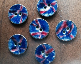 Enamel on Copper Buttons Vintage Set of 6 Blue and Red Mid Century Modernist Enamelled