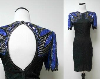 Laurence Kazar . beaded silk dress . petite plus . fits a small