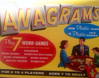 Vintage Anagrams Word Game Puzzles Original Box epsteam  Red Yellow