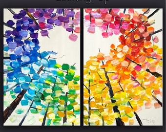 """Art Painting Abstract Painting Original Looking Up modern tree art 48"""" MULTI colors landscape painting on gallery canvas by tim lam"""