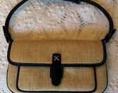 Straw Mini Purse - Ann Taylor Loft - Black Trim - Woven Straw Bag - Straw Handbag
