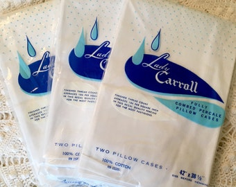 White Combed Cotton Percale Pillowcases - Vintage Pillowcases - Lady Carroll - Solid White Bedding - New - Unused - All Cotton - Full Cases
