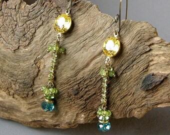 Extra Long Earrings - Crystal Earrings - ren faire costumes - renaissance clothing - medieval renaissance - burlesque costume - burlesquer