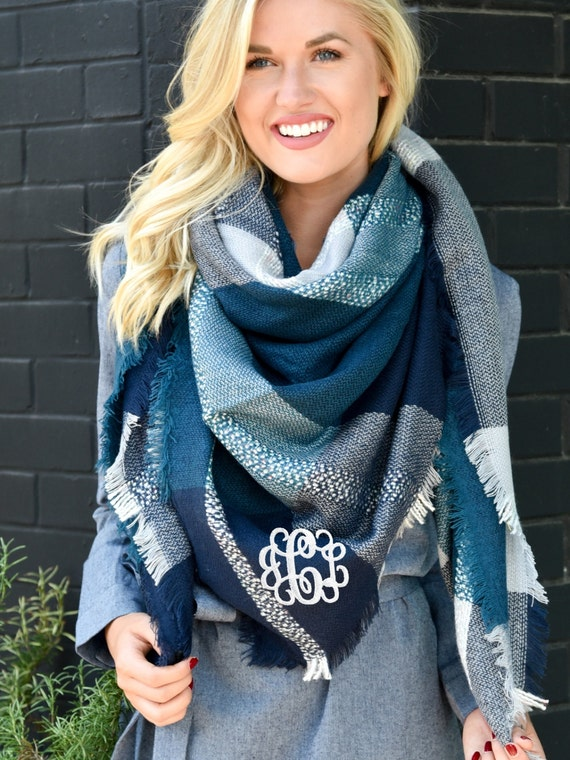 Gorgeous monogrammed blue plaid blanket scarf